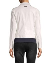 Armani Exchange White Solid Notch Lapel Coat