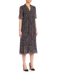 Giamba Black Leopard Print Georgette Midi Dress