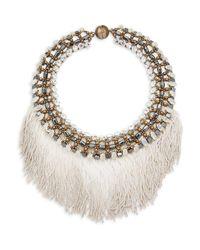 Tataborello White Crystal Studded Fringed Necklace