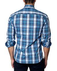 Jared Lang Blue Plaid Trim-fit Button-down Shirt for men
