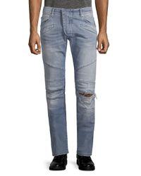 Balmain Blue Slim-fit Ripped Jeans for men