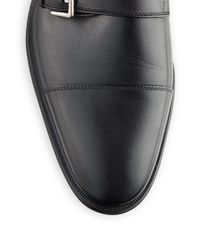 Bruno Magli Black Wesley Leather Monk-strap Shoes - Available In Extended Sizes for men