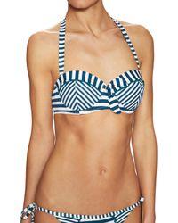 ba7c775377 Lyst - Paolita Bengal Striped Bandeau Bikini Top in Blue