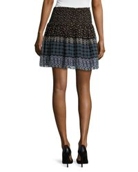 Shoshanna - Blue Silk Printed Flared Skirt - Lyst
