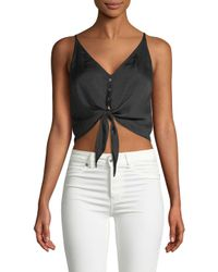 Free People Black Tie-accented Cropped Top