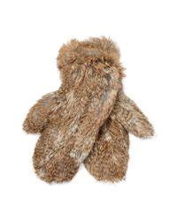 Surell Brown Long Hair Knit Mittens
