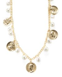 Kenneth Jay Lane - Metallic Coin & Pearl Station Necklace - Lyst
