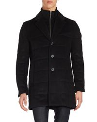 Saks Fifth Avenue Black Quilted Wool-blend Coat for men