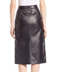 Lafayette 148 New York Black Adelina Leather Skirt