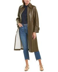 Vince Green Double-face Leather Trench Coat