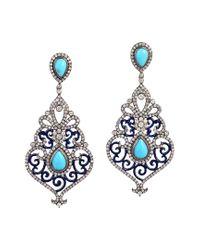Artisan Metallic 18k & Silver 11.32 Ct. Tw. Diamond & Turquoise Earrings