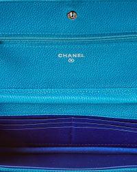 Chanel Blue Lambskin Leather Wallet On Chain