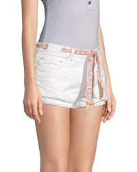Free People White Sashed Relaxed Shorts