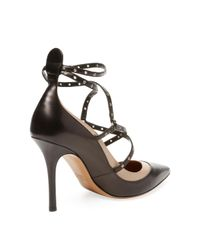Valentino Black Leather Ankle-strap Pump
