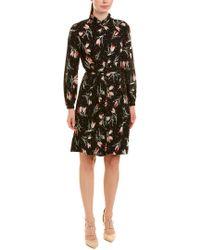 Rebecca Taylor Black Floral Ikat Silk-blend A-line Dress