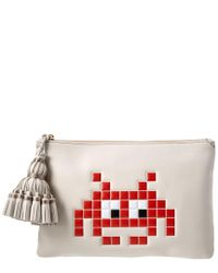 Anya Hindmarch Gray Space Invaders Georgiana Leather Clutch