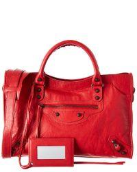 Balenciaga Red Classic City Medium Leather Shoulder Bag
