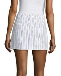 BCBGMAXAZRIA White Asymmetrical Striped Mini Skirt