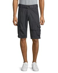Xray Jeans Blue Belted Cotton Cargo Shorts for men