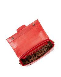 Dolce & Gabbana Red Embellished Logo Leather Crossbody Bag