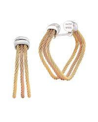 Alor - Metallic 18k White & Yellow Gold Split Cable Hoop Earrings - Lyst