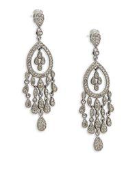Adriana Orsini - Metallic Crystal Teardrop Chandelier Earrings - Lyst