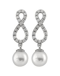 Splendid Metallic 14k 0.40 Ct. Tw. Diamond & 7-7.5mm Akoya Pearl Drop Earrings
