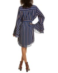 Charles Henry Blue Bell-sleeve Shirtdress