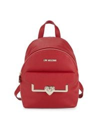 Love Moschino Red Heart Faux Leather Backpack