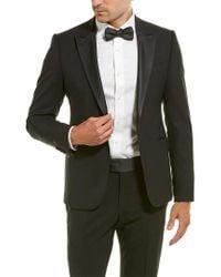 Armani Black 2pc Tuxedo M Line Wool-blend Suit With Flat Front Pant for men