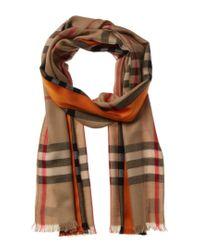 Burberry Natural Lightweight Check Cashmere & Silk-blend Scarf