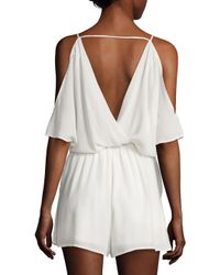 The Letter - White Solid Ruffle Romper - Lyst
