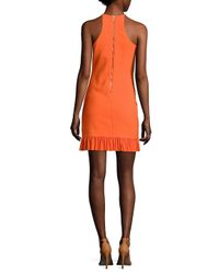Nicole Miller - Orange Ruffled Halter Dress - Lyst