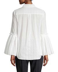 BCBGMAXAZRIA White Pleated Bell-sleeve Blouse