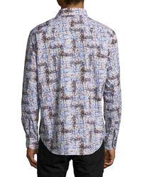 Robert Graham Blue Pickup Printed Cotton Casual Button-down Shirt for men