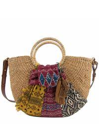 Sam Edelman Multicolor Jaelynn Straw Paper Basket Shoulder Bag