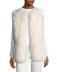 Carolina Herrera White Open-front Goat Fur Vest