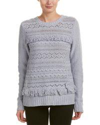 Kensie Gray Fringe Sweater