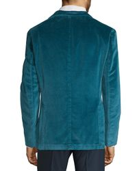 Boglioli Blue Notch Lapel Velvet Jacket for men