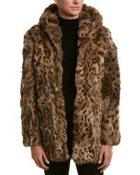 Adrienne Landau Brown Hooded Coat