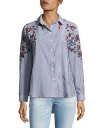 Beach Lunch Lounge Blue Hi-lo Embroidered Cotton Button-down Shirt