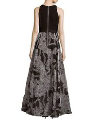 Carmen Marc Valvo Black Embroidered Crepe Organza Gown