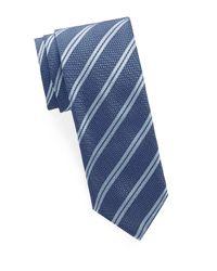 Brioni Blue Striped Silk Tie for men