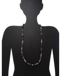 Bavna - Metallic Agate Bead Necklace With Sterling Silver Rosecut Diamond And White Topaz Bead - Lyst