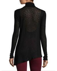 Three Dots Black Wool Blend Asymmetrical Turtleneck