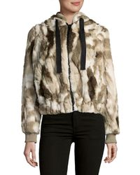 C&C California Brown Faux Fur Hooded Coat