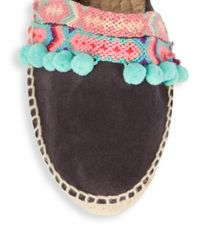 Manebí Blue Pompom Leather Espadrille Flats
