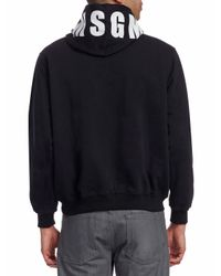 MSGM - Black Graphic Hoodie for Men - Lyst