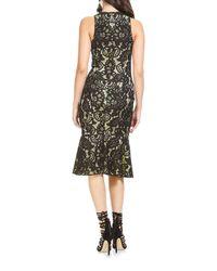 THEIA Black Floral-applique Sleeveless Dress