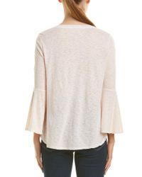Three Dots Pink Bell-sleeve Top